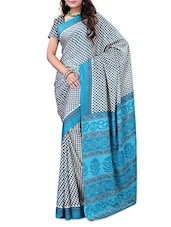 Blue And White Printed Crepe Saree - By