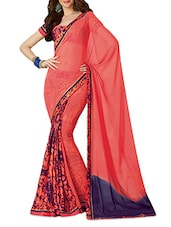 Coral Pink And Blue Printed Silk Saree - By