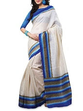 White Silk  Printed Sari With Blouse Piece - By
