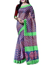 Purple Silk  Printed Sari With Blouse Piece - By