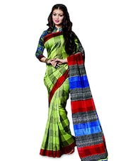 Green Silk  Printed Sari With Blouse Piece - By