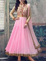 Pink Anarkali dress material -  online shopping for Dress Material