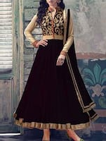 Black Anarkali dress material -  online shopping for Dress Material