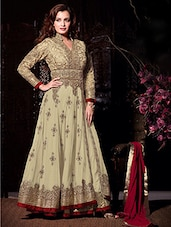 Floor Length  Beige Anarkali dress material -  online shopping for Unstitched Suits