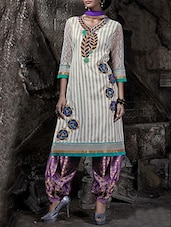 Off-white And Violet Patiyala Dress Material - By