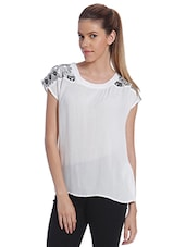 White Printed Shoulder Top - By