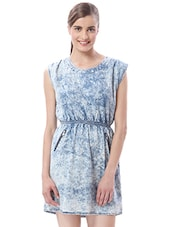 Light Blue Acid Wash Print Cotton Dress - By