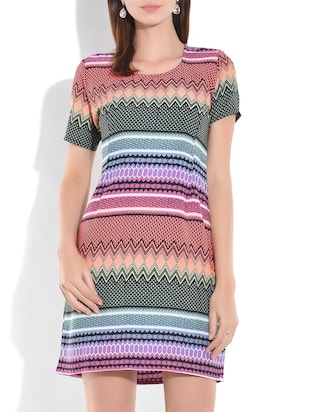 Multicolored printed short sleeved dress