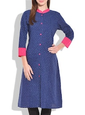 Blue A-line cotton printed kurta -  online shopping for kurtas