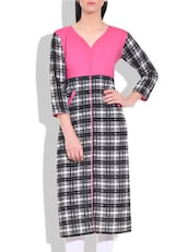 Black And White Checkered Cotton Kurta - By