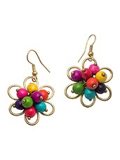 Multicoloured Beaded Flower Earrings - Swanvi