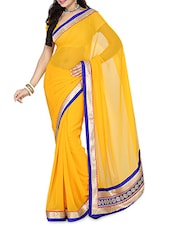 Yellow Chiffon Saree With Embroidered Border - By