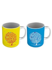 Multicoloured Printed Ceramic Coffee Mugs (Set Of 2) - By
