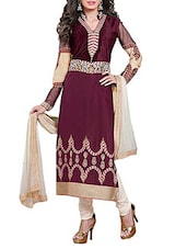 Maroon Cambric Cotton Embroidered Unstitched Suit Set - By
