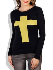 Navy Blue Cross Printed Cotton Sweater - By