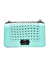 Sea Green Cutwork Faux Leather Sling Bag - By