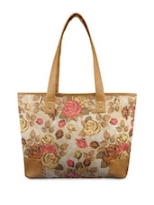 White Floral Printed Jute Handbag - By