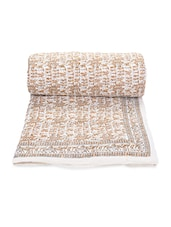 White Printed Cotton Reversible Double Bed Quilt - By