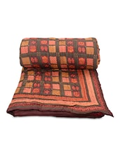 Multicolored Printed Cotton Reversible Double Bed Quilt - By