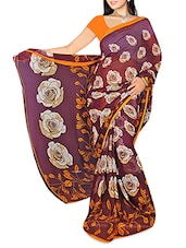 Purple Floral Printed Georgette Saree - By