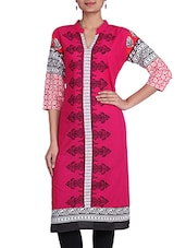 Pink Paisley Print Cotton Kurta - By