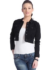 Black Cotton Polyester Jacket - By