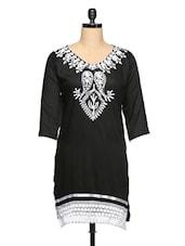 Stylish Kashmiri Embroidery Black Kurti With Lace - Purple Oyster