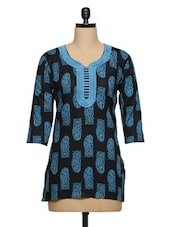 Black Paisley Blue Threequater Sleeved Short Kurti - Purple Oyster