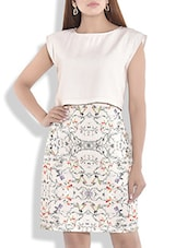 Cream Printed Dress With Attached Top - By