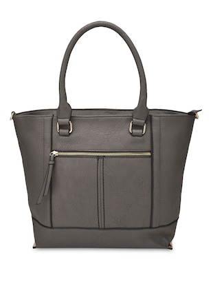 grey  faux leather hand bag
