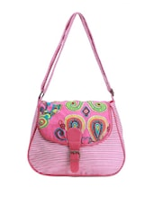 Pink Striped Casual Sling Bag - Art Forte