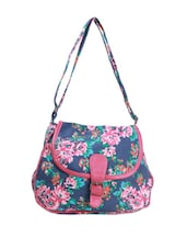 Blue Cute Multicolor Floral  Sling Bag - Art Forte