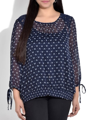 blue printed top with gathered hem