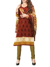 Rust Printed Cotton Unstitched Suit Set - By