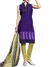 Purple Printed Cotton Unstitched Suit Set - By