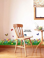 Wall Sticker-  Walking In The Garden Flower Border Design - By