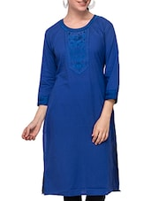 Three Quarter Sleeved Solid Cotton Kurti - Diti