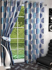 Set Of 2 Silver And Blue Long Door Curtains - By
