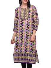 Three Quarter Sleeved Printed Cotton Kurti - Diti - 972579