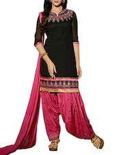Pink and black embroidered unstitched suit set -  online shopping for Unstitched Suits