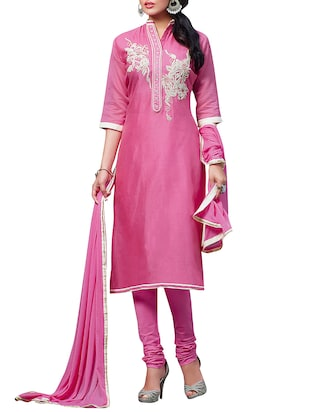 Pink embroidered unstitched suit set