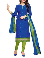 Green And Blue Embroidered Unstitched Suit Set - By