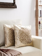 Off White And Gold Velvet Abstract Cushion Cover - By