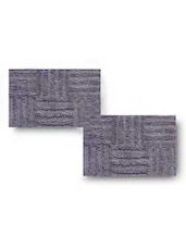 Grey Cotton Textured Set Of Two Bath Rugs - By