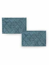 Sea Green Cotton Textured Set Of Two Bath Rugs - By