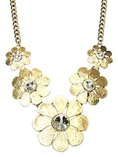 Gold Embellished Floral Necklace - By