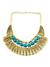 Gold And Blue Beaded Tribal Necklace - By