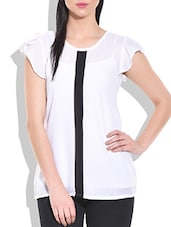 Black And White Monochrome Sleeves Ruffle Top - By