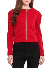 Solid Red Full Sleeves Jacket - By