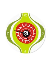 Quirky Eye Print Wall Clock  In Green Colour - Krayons